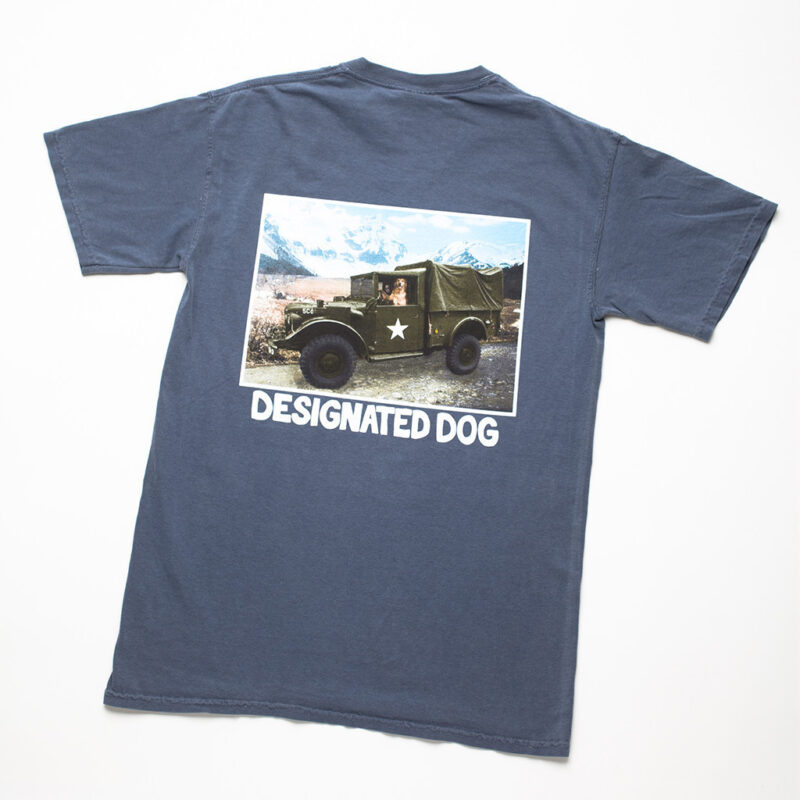Dog Driving Army Truck Tee lying flat.