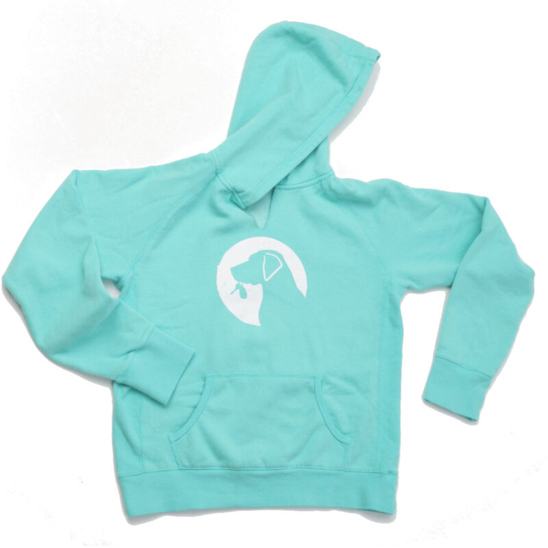 Ladies hoodie in aqua laying flay with logo on front.