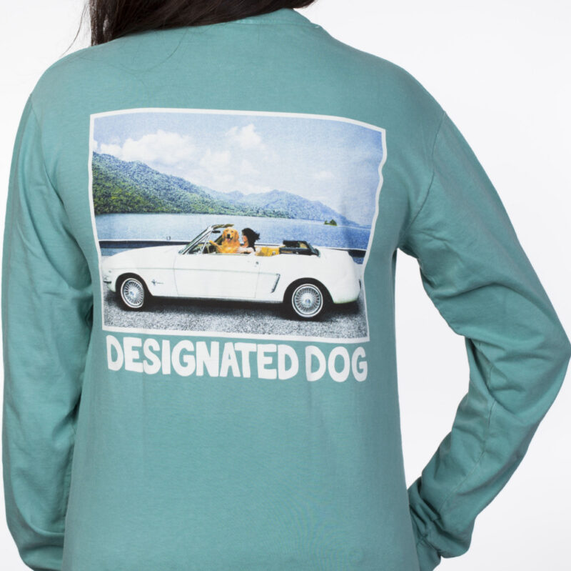 seafoam color conterible dog tee