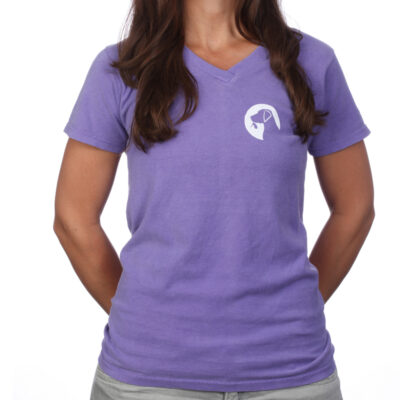 Ladies gifts for dog lovers logo shirt in violet.